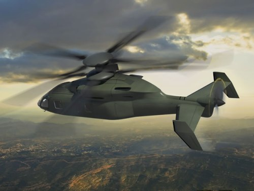 This artist's rendering depicts a Sikorsky-Boeing JMR-FVL concept aircraft with counter-rotating co-axial main rotors and a pusher propeller based on Sikorsky's X2® Technology rotorcraft design. The future rotorcraft will deliver significant improvements in speed, combat radius and hover performance for the Army's next-generation utility and attack helicopter fleets. Photo: Boeing