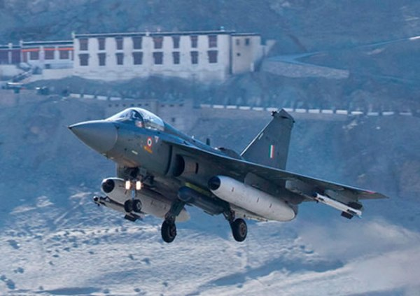Tejas LCA taking off from LEH on a January 2013 winter test flight. Note the Litening targeting pod carried under the fuselage. Photo: ADA via Livefist
