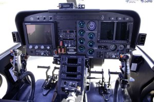 "The 407GT includes the Garmin G1000HTM flight deck with twin 10.4"" high resolution LCD screens, hosting advanced integrated cockpit and multi-function display information in an easy to scan layout. The aircraft also features a night vision-compatible instrument panel and superior long-range reconnaissance and laser designation capabilities. Photo: Bell Helicopters"