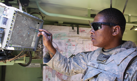 A Soldier from the 2nd Brigade Combat Team, 1st Armored Division uses the new version of the Army's friendly force tracking and messaging - FBCB2-JCR. This system is the first Blue Force Tracking system supporting both FBCB2 and Movement Tracking System (MTS). Photo: US Army by Claire Schwerin, PEO C3T