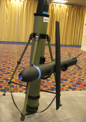 Nemesis can be launched vertically from a carrying container/launch tube. The same weapon is also configured for carrying on small UAVs, using the standard carriage system.