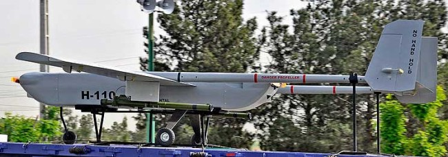 H-110 Sarir is a twin-engine UAV designed for long endurance missions. It was displayed on the April 2012 Army Day military parade in Tehran. The drone follows the lines of the Israeli Hunter UAV.