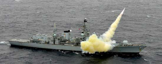 Royal Navy warship HMS Montrose fires a Harpoon anti-ship missile off the coast of Scotland. Photo: Crown Copyright