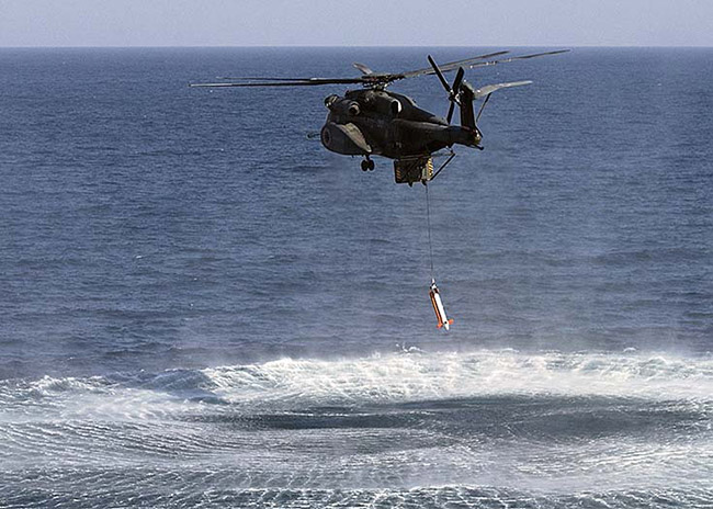 The Japanese Maritime Self-Defence Force (JMSDF) has received the first of four AQS-24A airborne mine-hunting systems (as shown in the photo above) from Northrop Grumman. Photo: Northrop Grumman