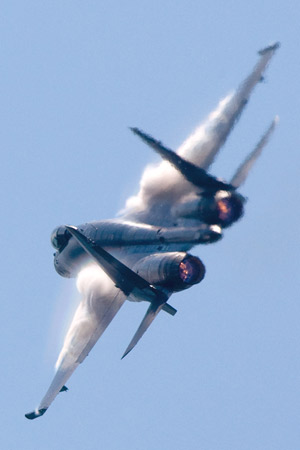 Su-35 practicing for the aerial display at the paris Air Show