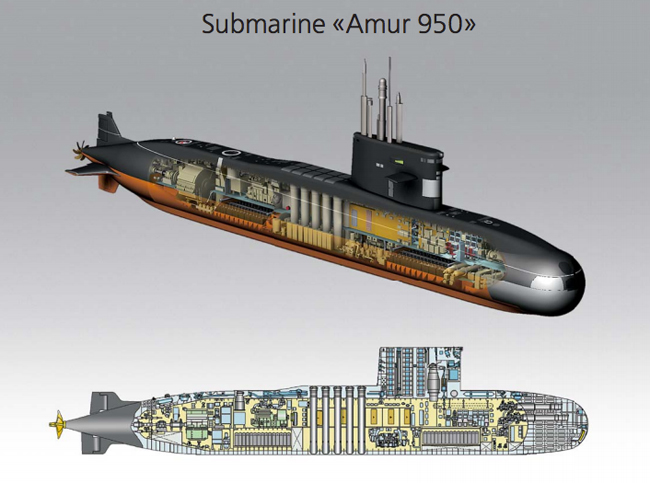 Amur 950, the original design the S-100 was based on, could carry four torpedo tubes and ten vertical launch tubes, but left minimal space for living and operating area. This sub could also go faster and deeper than the S-1000. Illustration: Rubin