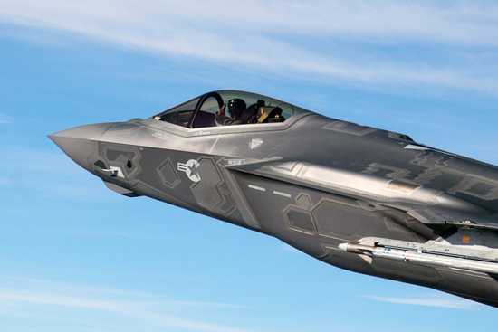 The F-35 Lightning II can carry two AAIM-9X missiles on the outboard stations. With extended range, and LOAL support, the fighter will be able to carry a balanced mix of passive and actively guided weapons. Photo: Lockheed Martin