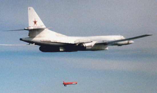 Tu-160 'Blackjack' launching a Kh555 cruise missile