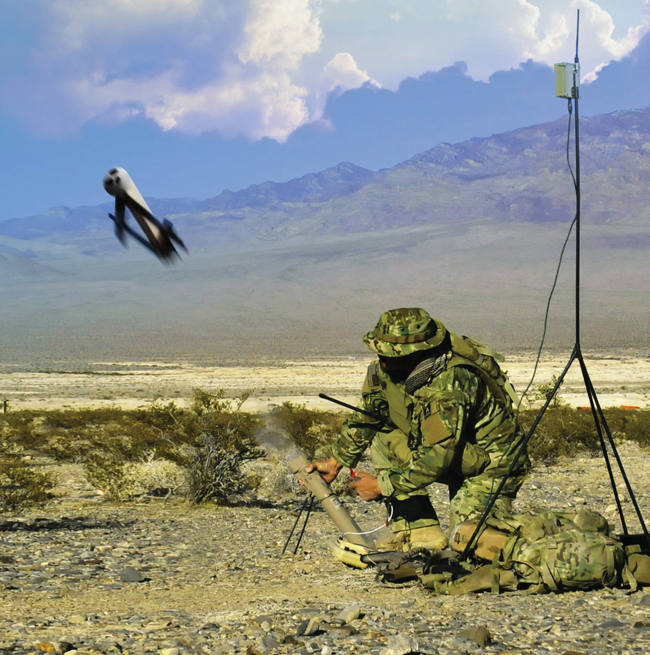 Aerovironment Switchblade Block 10 launched from a man portable carrying tube. Photo: Aerovironment