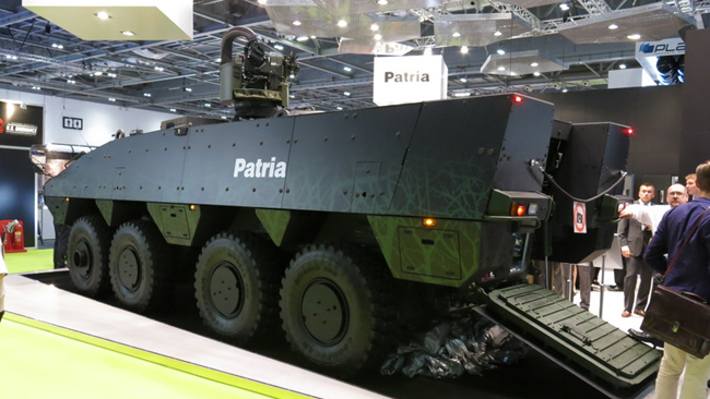 Patria unveiled the wheeled vehicle concept vehicle, offering 10% increase in payload capacity and many improvements over current AMVs.