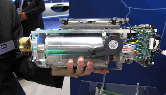 A new fuel cell from Ultra Electronics generates electrical energy from propane, at an efficiency of 30%. The fuel cell weighs 2.5 kilograms and requires only 100 grams of propane to run a UAV for one hour. A typical pressurized container will run an electrically powered mini-UAV for eight to 12 hours. An equal weight of Lithium-ion battery pack would be able to fly a similar drone for 2-3 hours.
