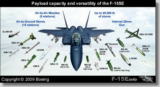 The array of weapons payload carried by the F-15SE - the Saudi F-15SA variant is based on the SE configuration. Photo: Boeing