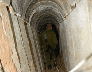 A tunnel dug by Palestinians from Gaza to Israel was uncovered last week by Israel's security forces. The tunnel, about 1.7 kilometer long, at a depth of 15 meters below ground level, was strengthened by concrete modules to protect it from collapsing. These tunnels are regularly used to smuggle goods and weapons from Sinai into Gaza, but where tunnels are directed at Israel their purpose is to abduct soldiers or citizens or launch attacks at military bases or civilian villages. Photo: IDF
