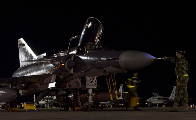 Colombian Air Force Kfir C10 prepared for flight at Nellis AFB, during the July 2012 Red Flag exercise.