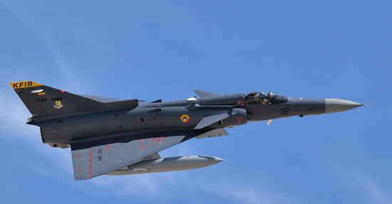 Colombian Kfir C10/12 participated in the Red-Flag 7/2012 exercise, claiming eight simulated kills of F-16 and F-15s.