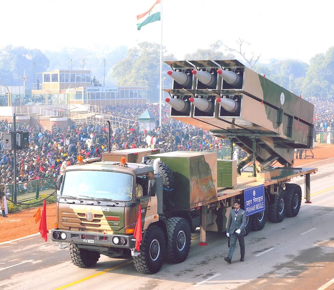 Prahar launch vehicle carrying six missiles shown on the independence day march in New Delhi.