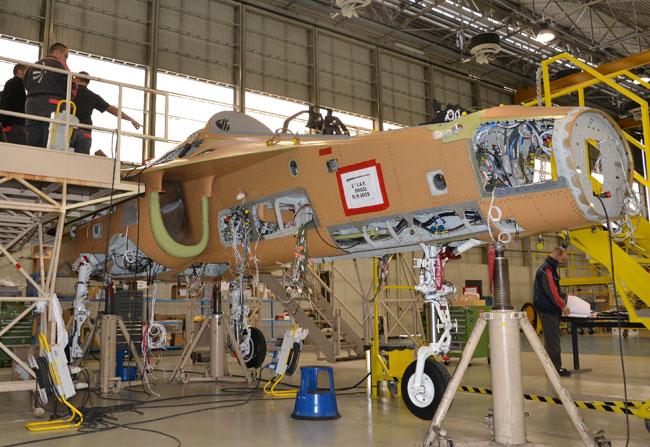 Alenia Aermacchi's plant in Venegono has begun assembling Israel's first M-346 advanced jet trainer. Photo: Alenia