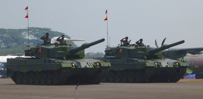 Two of the Leopard II Mk4 tanks Jakarta has acquired in Germany for . Photo: Rheinmetall Group