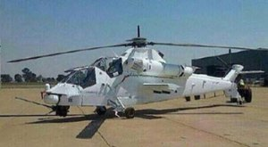 One of three Rooivalh helicopters painted white for the mission in the Democratic Republic of Congo, was seen at SAAF AFB Bloemspruit, home to the SA Air Force's 16 Squadron, which operates 11 Rooivalks. Photo via Defenseweb.