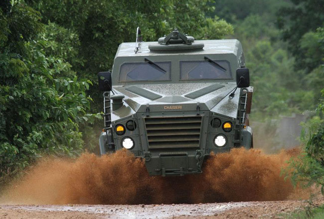 Chaiseri Metal Rubber Company is the builder of the 'First Win' - a 4x4 armored vehicle that weighs 10,800 kg and carries eleven personnel.