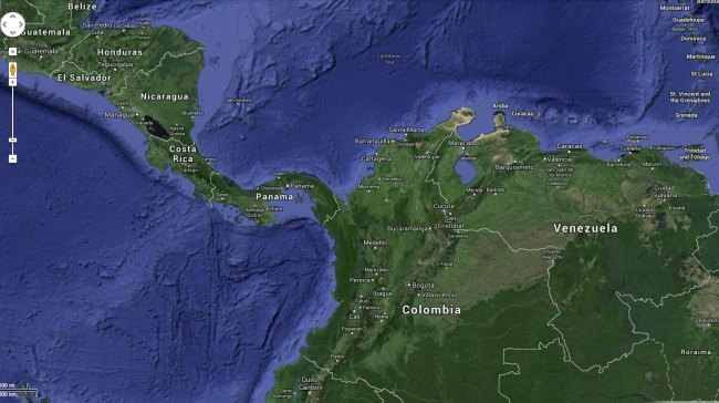 A map of the southern Caribbean Sea, showing Colombia, Venezuela, Nicaragua, Honduras and Panama. San Andreas island is located close to the Nicaraguan coast, but is, in fact a Colombian territory. Map: Google maps.