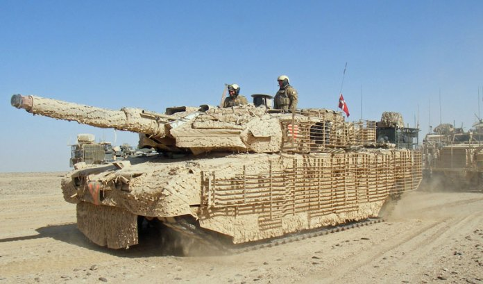 Danish Leopard II tank supporting the British  troops from Task Force Helmand's Manoeuvre Battlgroup, providing a protective screen for US personnel leaving bases in north Helmand province, Afghanistan. UK MOD photo, Crown Copyright
