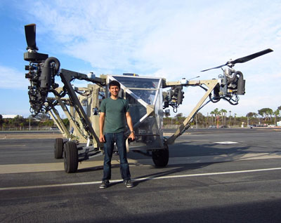 AT engineer, Rustom Jehangir, is standing next to the transformer vehicle for scale. He is six feet tall. Photo: Advanced Tactics