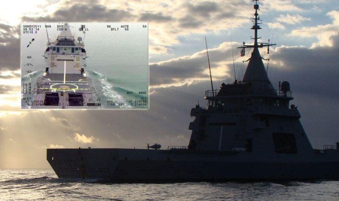 L'adroit at sea during the S100 integration evaluation, December 2013. The inset view shows the vessel as the S100 approaches to land, during sea trials in 2011. Photos: French Navy