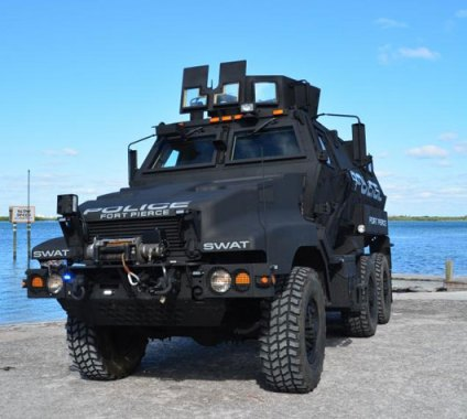 This ex-military Caiman MRAP will be used to transport Fort Lee SWAT teams. Local police bought the vehicle from the U.S. Department of Defense for just $2,000. Photo: Fort Pierce Police Department