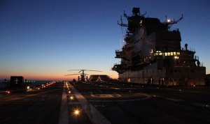 The flight deck of INS Vikramaditya illuminated for night operation evaluation. Photo: Indian Navy