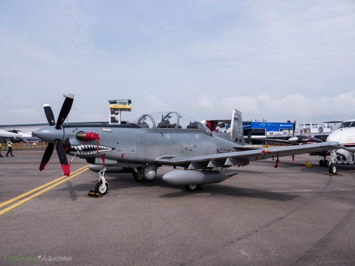Hawker Beechcraft AT-6B Texan II displaying a mean face at the Singapore Airshow