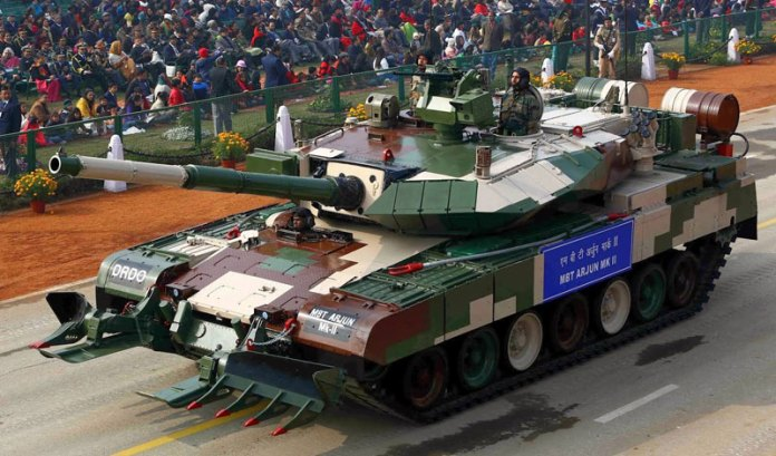 Arjun Mk II tank is the latest version of India's indigenous Main Battle Tank. It is seen here on the military display in 2013.