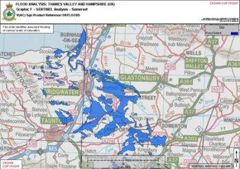 Flooded area analysis of the Thames Valley and Hampshire, UK generated by SAR imaging provided by Sentinel R1 sortie over Somerset. The Sentinel was operated by the RAF's 5 (Army Cooperation) Squadron from RAF Waddington in Lincolnshire. Photo: Crown Copyright