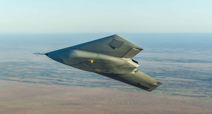 The serrated contour of the weapon's bay is clearly seen in this photo, where the stealthy Taranis shows its belly and underwing area on a banking turn. Photo: BAE Systems, UK MOD.