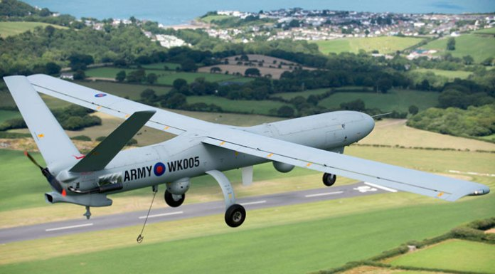 The British Army's Watchkeeper unmanned aerial system in flight over the UK during testing. Picture: Thales UK by Richard Seymour.