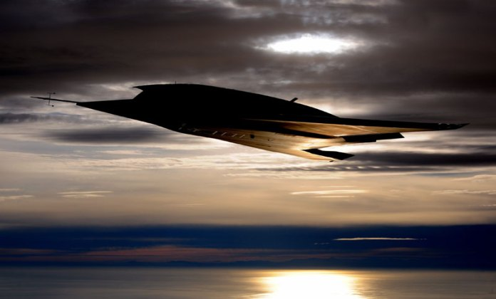 nEUROn, the European Unmanned Combat Aerial Vehicle (UCAV) in flight at dusk over the Mediterranean. Photo: Dassault Aviation by Anthony Pecchi.