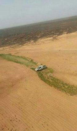 An abandoned pickup truck hit by Jordanian fighter jets after an infiltration attempt into Jordan. Jordanian MOD photo via AP
