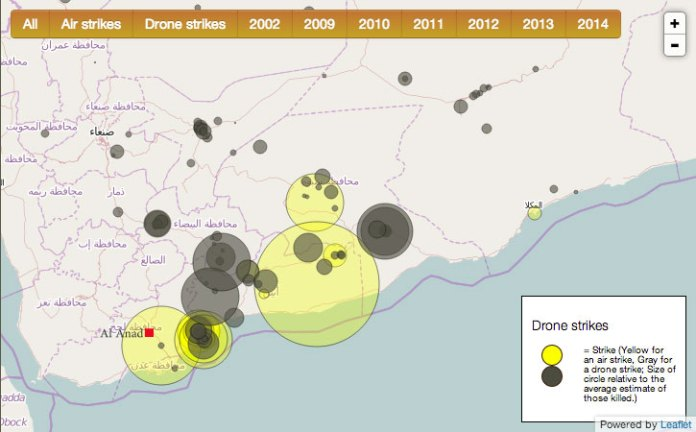 The locations of air strikes (yellow) and drone strikes (grey) in Yemen. Radius indicates the number of killed. The red mark is the position of the Yemeni Air Force Base at Al Anad, allegedly providing the forward operation base for those operations. It is also believed that since the introduction of MQ-9 Reaper drones, at least part of the activity has moved to the more desolate Um El-Melh border guard new airbase base built near the Saudi-Arabian-Yemeni border, about 900 km north-east of Al Anad..