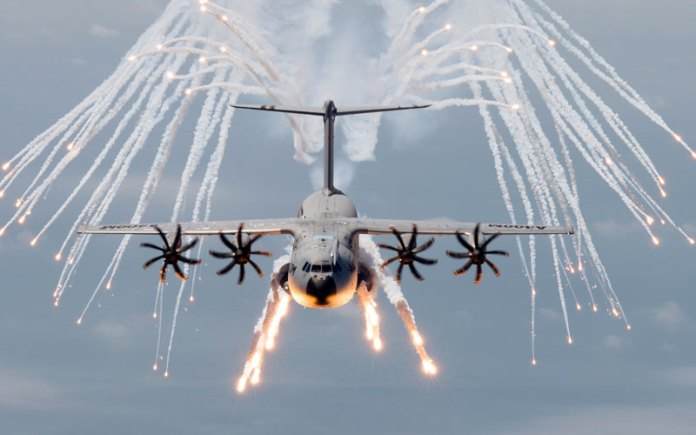 Airbus Military A400M demonstrates the release of decoy flares. Photo: Airbus Military