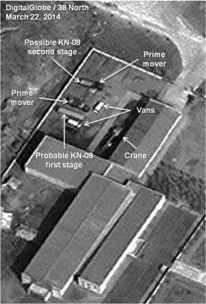 Probable KN-08 stages and vehicles prior to movement to the test stand. Photo: Digital Globe via 38North.