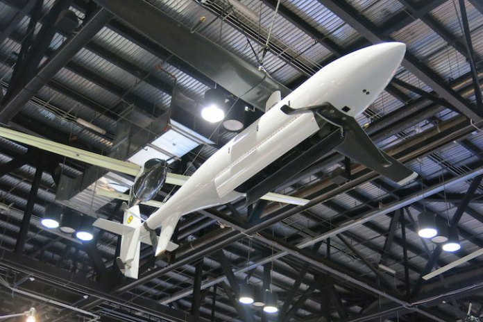 The Stop Rotor UAV is tested by the Naval Research Laboratory to evaluate potential platforms that could rapidly deploy torpedo decoys as part of a surface fleet anti-submarine defense. The drone takes off vertically from the deck, than transitions to forward flight, powered by a tail rotor, by stopping the rotor and flipping one blade to form a wing. The complete process takes only one second.
