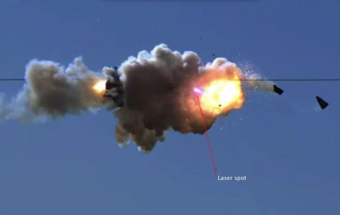 After few seconds of burn the 10Kw ADAM laser burns through the rocket's outer skin and causes the warhead or fuel to explode. Photo: Lockheed Martin
