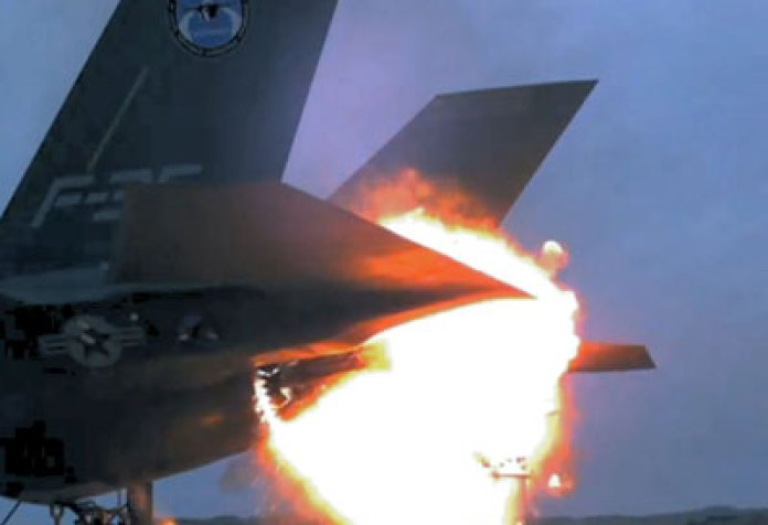 F-35A aborts mission after catching fire on takeoff