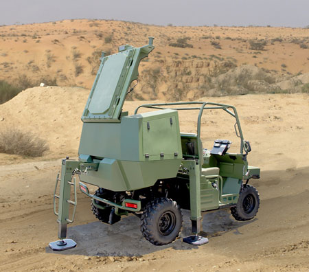 The ATC configured Green Rock uses a single module stacking several phased array covering 90x90 degrees. Photo: IAI