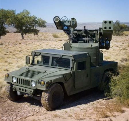 Boeing has already tested a version of its Avenger mobile ground based air defense system, fitted with a reconfigured Avenger turret, comprising a medium-power laser weapon, automatic cannon and Stinger missiles. Photo: Boeing