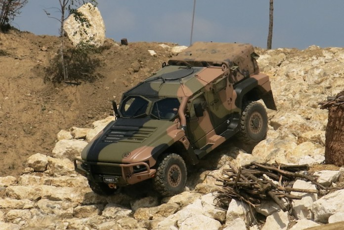 The Thales Group displayed the Hawkei Light Protected Mobility Vehicle weighing 10 tons. Hawkei delivers unparalleled levels of blast and ballistic protection, for a helicopter transportable vehicle. Photo: Noam Eshel
