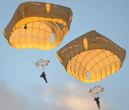 The cruciform shape of the T-11 parachute helps to vertically stablilize the parachute soon after deployment, eliminating the oscillation experienced with T-10. Researchers considered these oscillations likely to increase injury risk by increasing the impact energy on ground contact. Photo: US Army