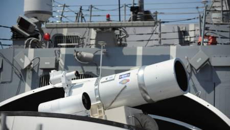 The Laser Weapon System (LaWS) tested on aboard the guided-missile destroyer USS Dewey (DDG 105) in 2010 was based on commercial fiber solid state lasers, utilizing combination methods developed at the Naval Research Laboratory. LaWS can be directed onto targets from the radar track obtained from the MK 15 Phalanx Close-In Weapon system or other targeting source. The system will be deployed for the first time this summer, on USS Ponce, on an operational mission to the persian Gulf. US Navy photo.