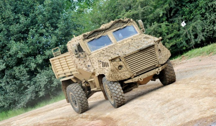 Ocelot utility vehicle shares a common chassis and many subsystems with the Foxhound. Its cabin accommodates three persons and the flatbed can load 2.5 tons. Photo: Bedfordshire News