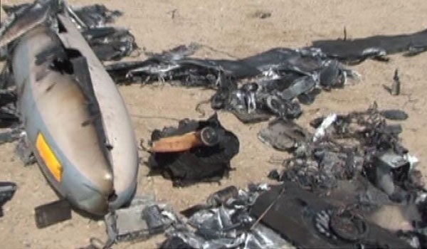 Remains of an Israeli Hermes 450 one shot down by Iranian missiles. Over Central Iran. Photo: Iranian Official photo.